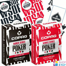 2 DECKS COPAG WSOP 100% PLASTIC JUMBO POKER CARDS 1 BLACK 1 RED WORLD SERIES NEW