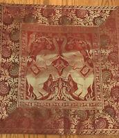 "Silk Pillow Cover-Red Gold-Asian Elephant Theme-16"" x 15 1/2""-Zipper-SHIPS FREE"