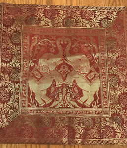 "Silk Pillow Cover-Red Gold-Asian Elephant Theme-16"" x 15 1/2""-Zipper-SHIPS FREE"