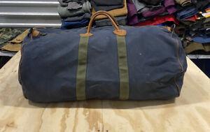 "Vintage L.L. BEAN Canvas Duffle Bag Large Blue Faded Green Travel Bag 26"" Long"