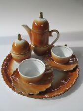 Original  PORTELANUL ALBA IULIA  Romania Small Brown Coffee Set w/ Round Tray