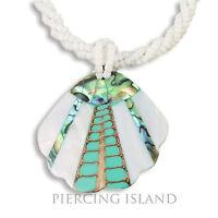 Edle Halskette Anhänger Keramik Perlen, Muscheln Perlmutt Design N268