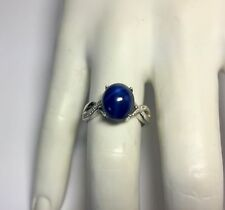 Plata de Ley Ovalado 11 x 9mm Sintético Estrella Azul Zafiro & Diamante
