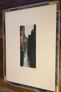 Italian Artist Cadore Framed Limited Edition 40/44 Aquatint Venice Canals 2001