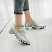 Stylish New Women's Pointed Toe Heels Lace Up Patent Leather Pumps Shoes Size
