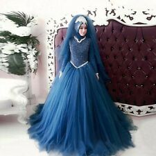 New Blue  Muslim Wedding Dresses  White Luxury Long Sleeve Wedding Gown