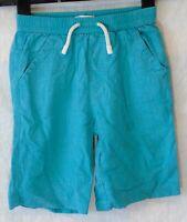 Boys Debenhams Aqua Green Linen Blend Elasticated Waist Shorts Age 4-5 Years