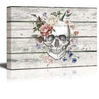Canvas Prints - Skull/Skeleton with Flowers on Vintage Wood Background - 16 x 24