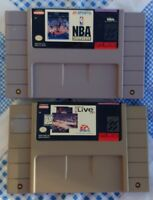 NBA LIVE & SHOWDOWN  SNES SUPER Nintendo Game Tested Works Authentic BASKETBALL
