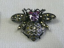 925 MARKED SILVER  HONEY BEE VINTAGE  FACETED OVAL AMETHYST PIN BROOCH