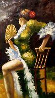 """Ricardo Lopez """" danzatrice di flamengo """"olio su tela cm 90 x 60"""