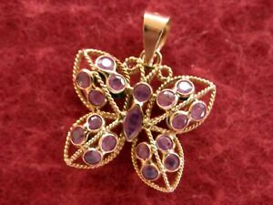 14K Solid Gold REVERSIBLE Blue Sapphire Red Ruby Butterfly Pendant