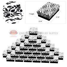 "50 Damask Print Gift Jewelry Cotton Filled Boxes 3 1/4"" x 2 1/4"" x 1"" Bracelets"