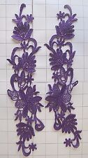 """12"""" by 3"""" Bright Purple Pair Mirrored Embroidered Appliques"""