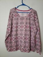 Made for Life Women's Blouse Top Size XL Pink Gray Floral Paisley Activewear New