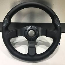 330mm Black Stitching Leather Flat Steering Wheel Racing MOMO Drifting Rally