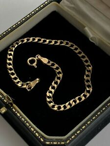 "9ct Solid Gold Square Curb Link Bracelet 7.25"""