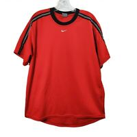 Nike Red Center Swoosh Tshirt Top Short Sleeve Tee Jersey Mens Size Large L