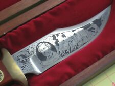 Sam Colt Fixed Blade Etched Bowie Knife w/Wooden Case Excellent!