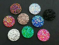 20pc 12mm Druzy Cabochon Pair Mix of Colours Round Sparkly Resin Cabs Flat Back