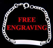 STERLING SILVER FIGARO CHILD ID BRACELET FREE ENGRAVING