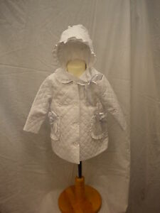 Pretty Original Baby White Coat and Bonnet Style MB10267 AGE 3M-12M Lined