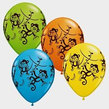 12 MISCHIEVOUS MONKEYS LATEX BALLOONS JUNGLE SAFARI ZOO MONKEY BALLOON PARTY