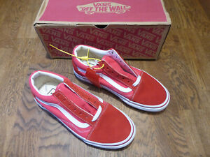 VANS OLD SKOOL BRICK RED AND WHITE SHOES TRAINERS PUMPS UK 4.0 EU 36.5