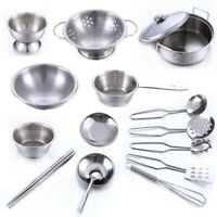 1 Set Stainless Steel Kids Kitchen Cooking Pretend Playset Cookware Pots Toys LG