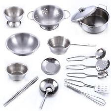 1 Set Stainless Steel Kids Cooking Cookware Pots Pretend Kitchen Playset Toys