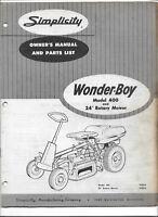 Original Simplicity Wonder Boy Wonderboy 400 Tractor Owners Manual Parts List