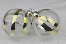 GISELA GRAHAM CHRISTMAS CLEAR OPAQUE LIQUID GOLD TRELLIS STRIPE GLASS BAUBLE X 2