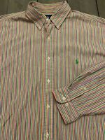Polo Ralph Lauren Button Down Stripe Shirt Men's 17.5 XL green pink blue