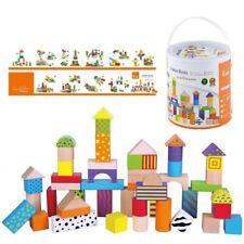 WOODEN Colourful Building BLOCKS Storage TUB 50 pcs EDUCATIONAL Toy Construction