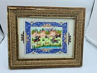 Large Vintage Persian Hand-Painted Plaque in Khatam Mosaic Frame