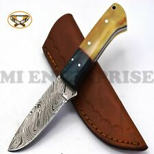 Handmade Damascus Steel Hunting Knife With Bone and Wood Handle Lot