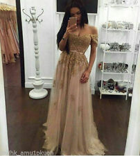 Gold Appliqued Evening Dresses Cap Sleeve Prom Party Pageant Ball Gown Custom