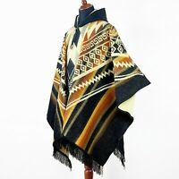 Alpaca wool Hooded Poncho Unisex Aztec pattern all seasons boho hippie XXL BLACK
