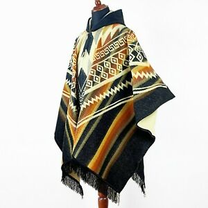 Alpaca wool Hooded Poncho Unisex Aztec pattern all seasons boho hippie XXL BLACK