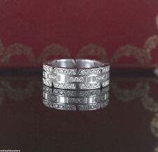$12,900 Cartier 18K White Gold Tank Francaise Diamond Ring Band Maillon Panthere