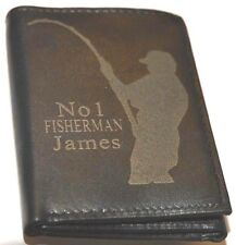 NO 1 FISHERMAN FISHING WALLET PERSONALISED GIFT ENGRAVED WITH ANY NAME LEATHER