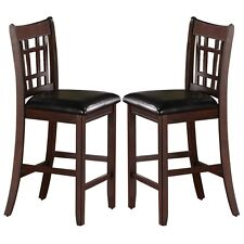 "Set of 2 Lavon 24"" inch Counter Height Bar Stools Cappuccino Upholstered Seats"