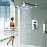 Chrome Bath 8 Inch LED Shower Faucet Combo Set  Rainfall  Shower Mixer Tap