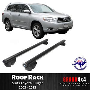 2x BLACK Cross Bar Roof Racks for Toyota Kluger 2003 - 2013 Raised Roof Rail