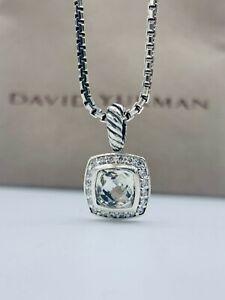 David Yurman Petite Albion Pendant Necklace with White Topaz and Diamonds