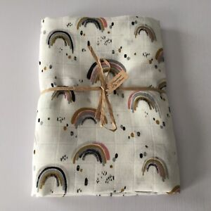 Baby Double Muslin Wrap Swaddle Blanket Handmade ~ Rainbow Design - Ivory