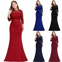 Evening Long Prom Dresses Formal Party Gown Bridesmaid Lace Dress Plus Size US