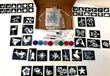 GLITTER TATTOO KIT MOANA HAWAIIAN 90 large 60 mini stencilS glitter glue brushes