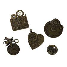 Conjunto de 5 mezclado Antiguo Bronce Tono Diseño De Engranajes Steampunk COLGANTES/CHARMS