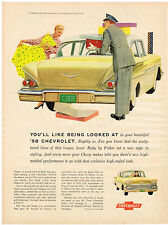 Vintage 1958 Magazine Ad For Chevrolet Sculptured Lines High Style And Du Pont